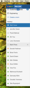 Persons with whom you have chatted are listed in the People sidebar.
